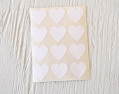 36 Small White Heart Stickers, free shipping - PaperAndPresent