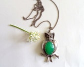 Groovy Owl Vintage Silver and Jade Large Owl Pendant Necklace