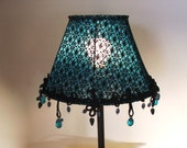 Turqoise-black Spider webs Table  lamp Gothic style Hand made Lighting with turquoise-blue  glass beads