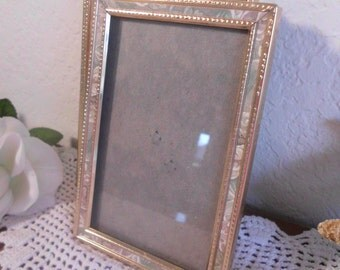 Vintage 3.5 x 5 Gold Metal Frame Rustic French Country Farmhouse Mid Century Shabby Chic Cottage Home Decor Wedding Decoration Gift for Her