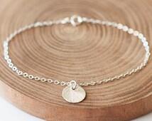 Silver Brushed Disc Bracelet, Modern Bracelet, everyday jewelry,  Minimalist Bracelet, Silver Disc Bracelet, Sterling Silver Disc Bracelet