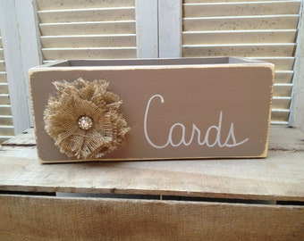 Distressed Khaki and White Wedding Cards Box Rustic Wooden Wedding Cards Holder