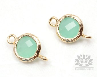 F145-G-MT// Gold Framed Mint Faceted Round Glass Connector, 2 pcs