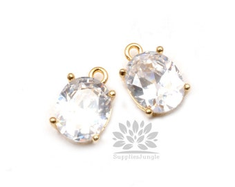 P535-04-G// Gold Framed Crystal Oval Glass Pendant, 2 pcs