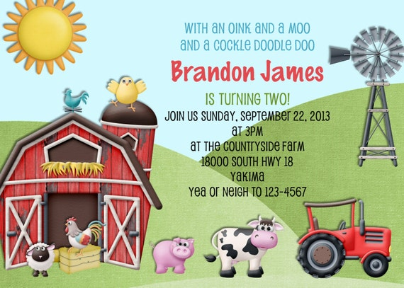Farm Birthday Invitation - Farm Animals Invite - Printable Invitation - Farm Party - Barnyard Country Farm Invite