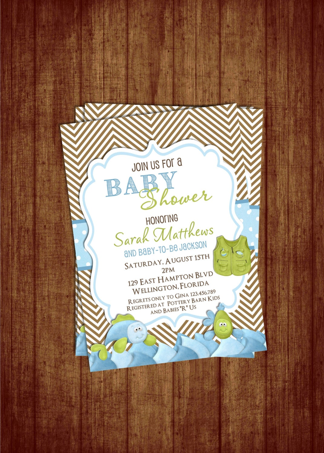 chevron fishing baby shower invitation fish and rod custom