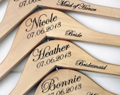 1 - Personalized Wedding Hanger with Arm Inscription - Wooden