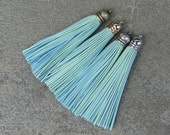 Pastel Mint  Leather TASSEL in Dome-shaped Gold, Silver, Antique Silver or Antique Brass Plated Cap- Pick your tassel cap