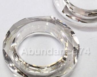 2 pcs Swarovski Crystal 4139 14mm Round Donut Cosmic Ring  - SILVER SHADE