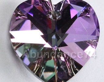 Swarovski Crystal 6228 6202 Faceted Xilion Heart Pendant VITRAIL LIGHT - Available in 10mm and 14mm