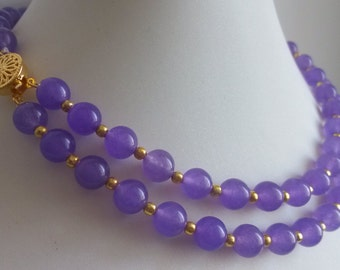 jade necklace - 17-18inch  double rows  8 mm purple jade necklace