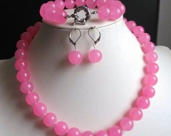 jade set- 12mm pink jade necklace bracelet & earrings set