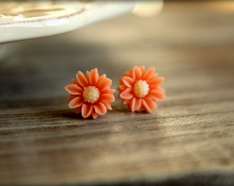 Two Tone Daisy Earring Studs, Multiple Colors Available