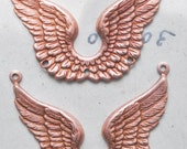 Angel Wings Necklace Bases with Three Holes, Rose Ox, TWO
