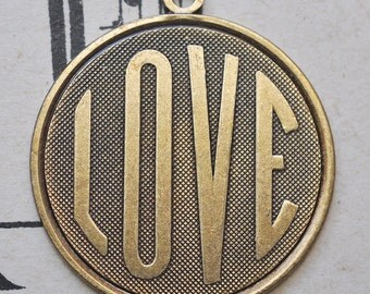 Love brass medal, brass ox, brass stampings made in the USA for jewelry making and crafting