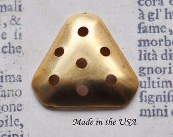 Brass Bases for Bead Embroidery, TWO, Pear Shaped Raw Brass
