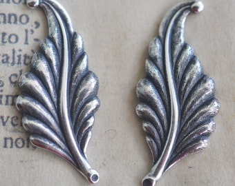 Left and Right Brass Leaves, Sterling Silver OX Finish