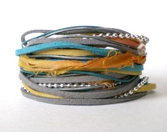 bohemian wrap bracelet, teal yellow grey triple wrap, leather faux suede ribbon wrap, rocker cuff, stacking bracelet, gift for her