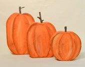Fall Decorations  Wood Pumpkins  Autumn Decorating Halloween Thanksgiving Trio