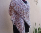 Knit Wrap in White and Fall Colors--Autumn Snowball Knit Shawl