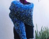 Knit Wrap In Shades of Teal and Blue