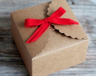 Kraft Paper Gift Box - 9cm x 9cm x 6cm - 5 boxes