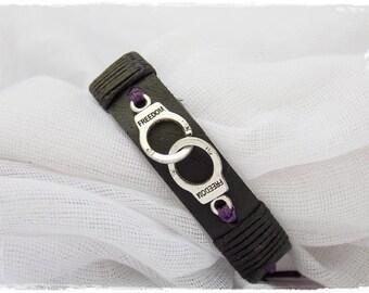 Leather Handcuff Bracelet, Men's Leather Cuff, Handcuff Leather Wristband, Gothic Leather Bracelet, BDSM Leather Bracelet, Sub Leather Cuff