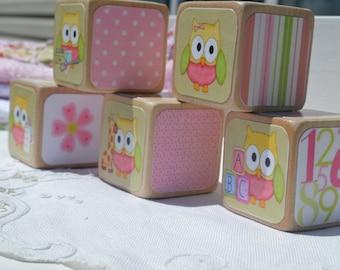 Owl Theme Shower Nursery Decor Blocks Baby Girl Gift