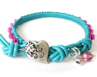 Turquoise & hot pink macrame bracelet with tiny sterling silver heart charm and crystal bead, stacking bracelet for teen girls, UK gift idea
