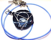Wire Wrapped Deathly Hallows Pendant - Three Brothers Pendant - Dragon Glass - Obsidian - Lily Clasp