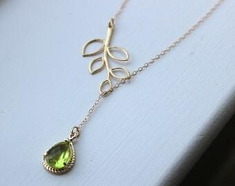 Peridot Apple Green Lariat Necklace Lariet Leaf Gold Teardrop Bridal Necklace - Bridesmaid Lariat Necklace - Bridesmaid Jewelry Wedding