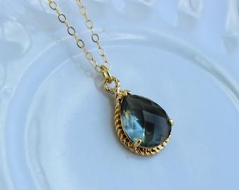 Gold Charcoal Gray Necklace Teardrop Gold Grey Jewelry - Grey Gray Bridesmaid Jewelry - Slate Wedding Jewelry - Charcoal Necklace Gold