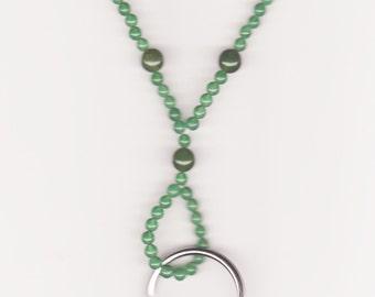 Handmade Jewelry, Beaded Lanyard, Lanyard Jewelry, ID badge, Green Lanyard, Green Aventurine Beaded Lanyard, Jade Green Lanyard, Beadwork
