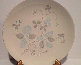 Royal China Venice dinner plates 10 inch blue and gray floral print