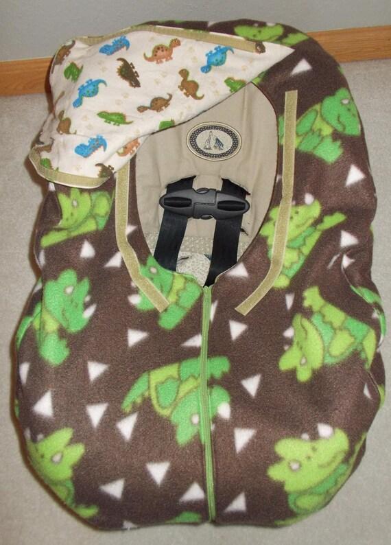 brown flannel fleece dinosaur infant car seat cover baby boy. Black Bedroom Furniture Sets. Home Design Ideas