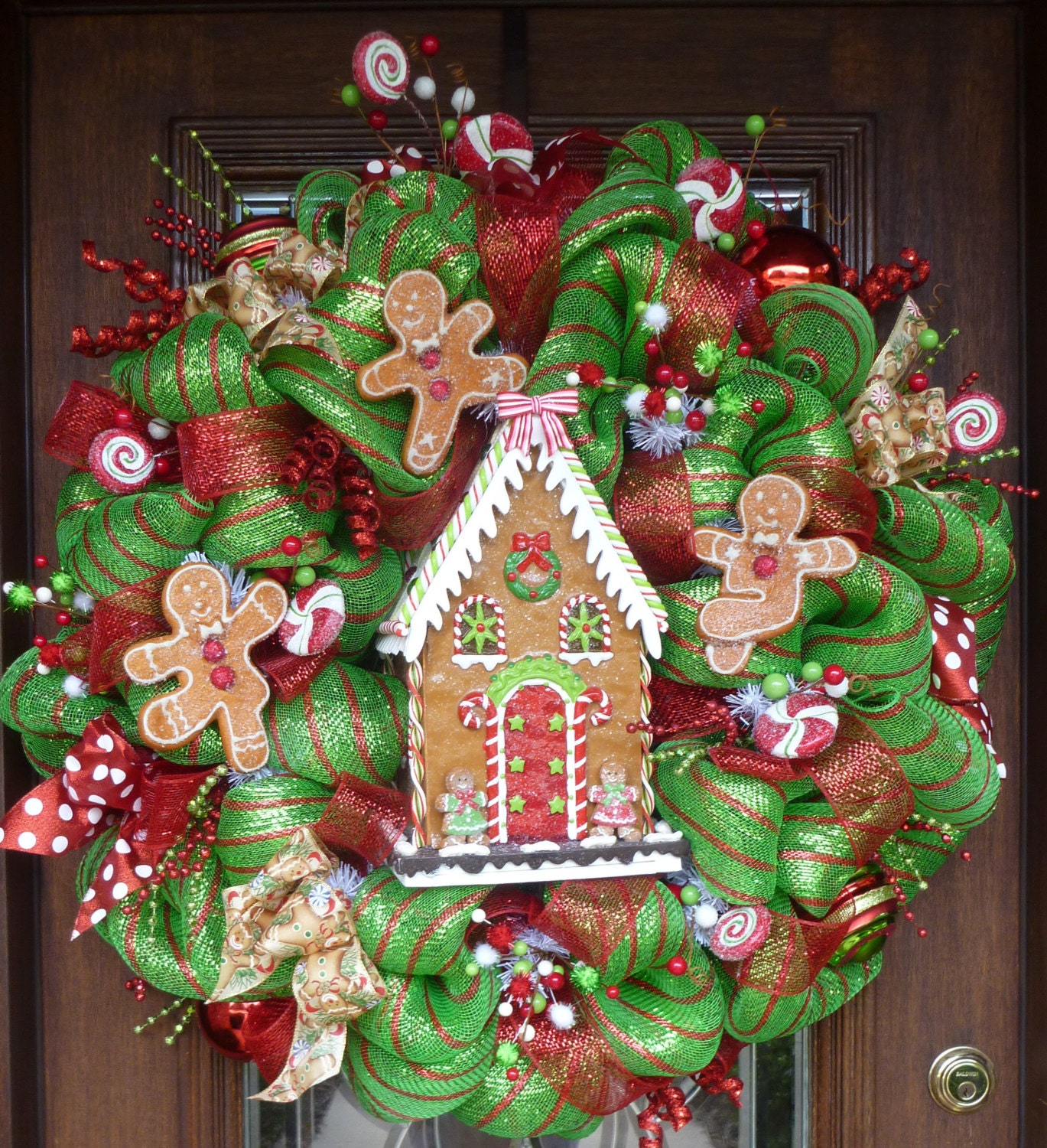 32 Deluxe Deco Mesh GINGERBREAD HOUSE CHRISTMAS Wreath