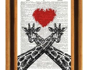 Giraffe Print, Giraffes art Prints, couple Loving giraffes Print, Wedding gift, Valentine Gift, Personalized Gift, Dictionary art print