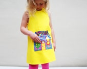 little girls summer dress with house shaped pocket in yellow or fuchsia.