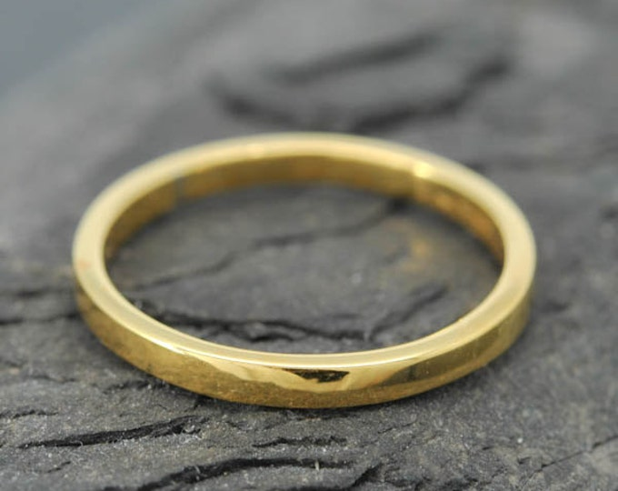 18k Yellow Gold, 1mm x 1mm, Wedding Band, Square Band, Stacking Ring, Flat Band, Size up to 6