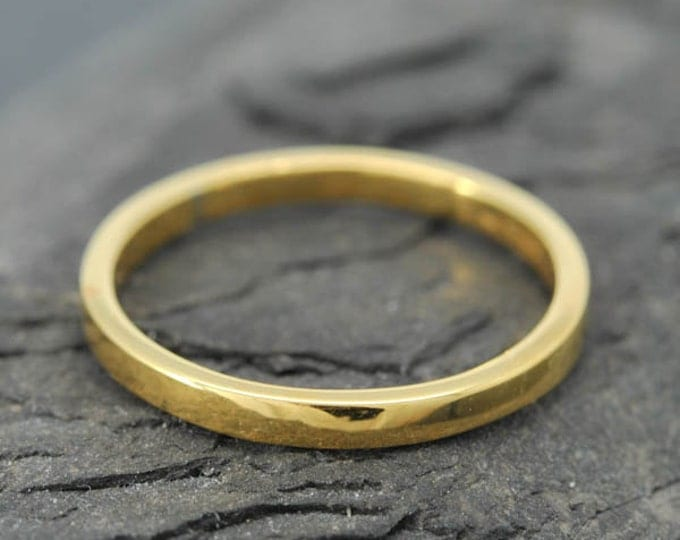 18k Yellow Gold, 1.5mm x 1.5mm, Wedding Band, Square Band, Stacking Ring, Flat Band, Size up to 12