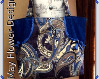 Very Large Denim Tote Bag / Blue Jeans and Paisley Large Tote