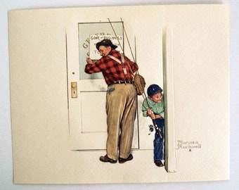 Vintage Norman Rockwell Closed For Business A Helping Hand Embossed Print
