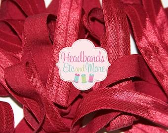 5/8 Scarlet Maroon Red Fold Over Elastic FOE You Choose Length DIY Headbands