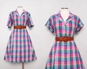 80s Does 50s Dress / Vintage 1980s Plaid Dress / Large