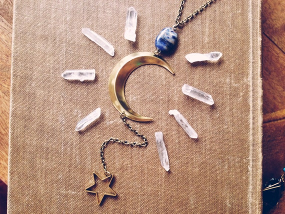 moondaughter.  a crescent moon and starry night necklace.