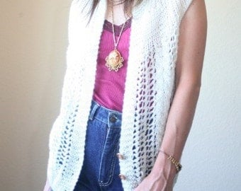 SALE 70s cream boho hippie folk crochet knit cardigan/vest