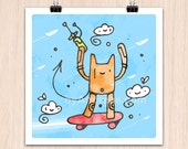 """9x9"""" SpaceCat and Clouds (Color Print)"""