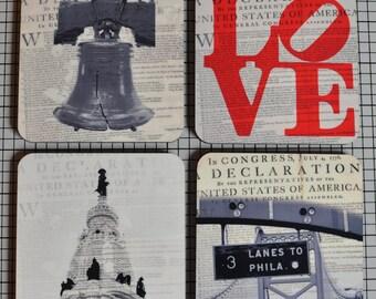 Coaster Set. Philadelphia Liberty Bell City Hall Ben Franklin Love Park Cork Back Home Accessories
