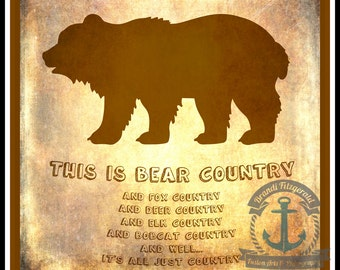 Bear Country Wildlife Inspired Wall Decor Product Options and Pricing via Dropdown Menu