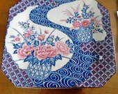 Large Ceramic Serving Platter - Blue and Pick Floral Design